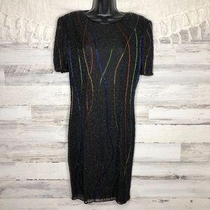 Vintage silk multicolor black beaded dress
